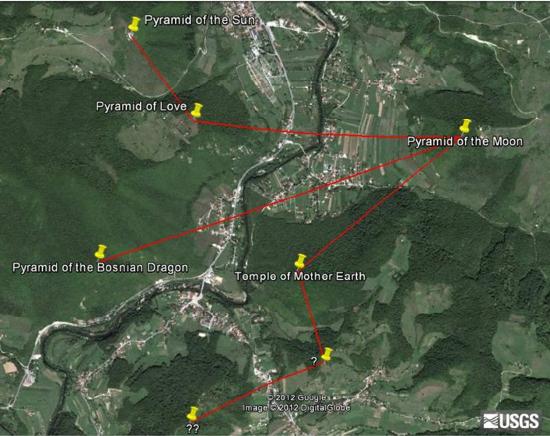 Valle Piramidi con punti stella evidenziati